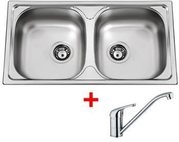 Sinks OKIO 780 DUO V 0,5mm matný + Sinks VENTO 4 lesklá