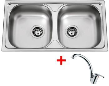 Sinks OKIO 780 DUO V 0,5mm matný + Sinks VENTO 55 lesklá