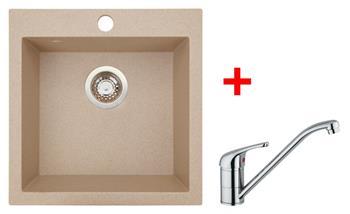 Sinks VIVA 455 Beige + Sinks VENTO 4 lesklá