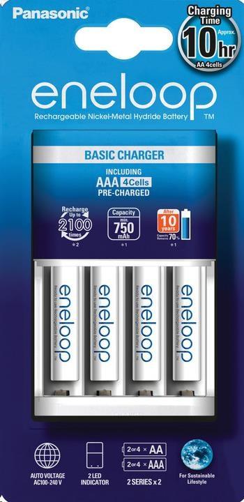 PANASONIC eneloop Nabíječka Basic Charger 4x AA/AAA (včetně 4xAAA 750mAh) doba nabíjení +/- 8-10h K-KJ51MCC04E