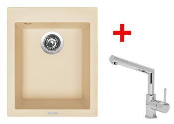 Sinks CUBE 410 Sahara + Sinks MIX 350 P lesklá