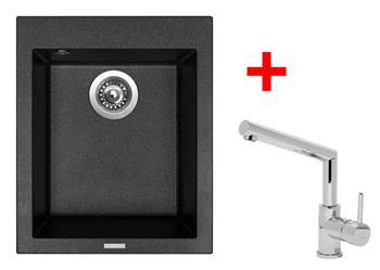 Sinks CUBE 410 Granblack + Sinks MIX 350 P lesklá
