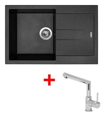 Sinks AMANDA 780 Metalblack + Sinks MIX 350 P lesklá